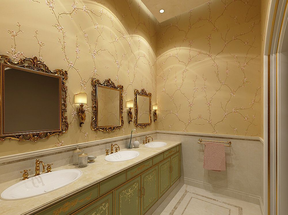 Formal and classic powder room with 3D wall art [Design: Nadas Interiors]