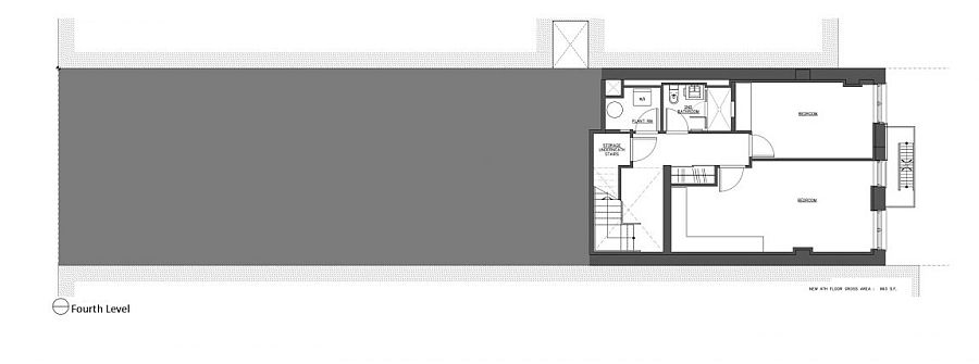 Forth level floor plan of revamped apartment building in NYC