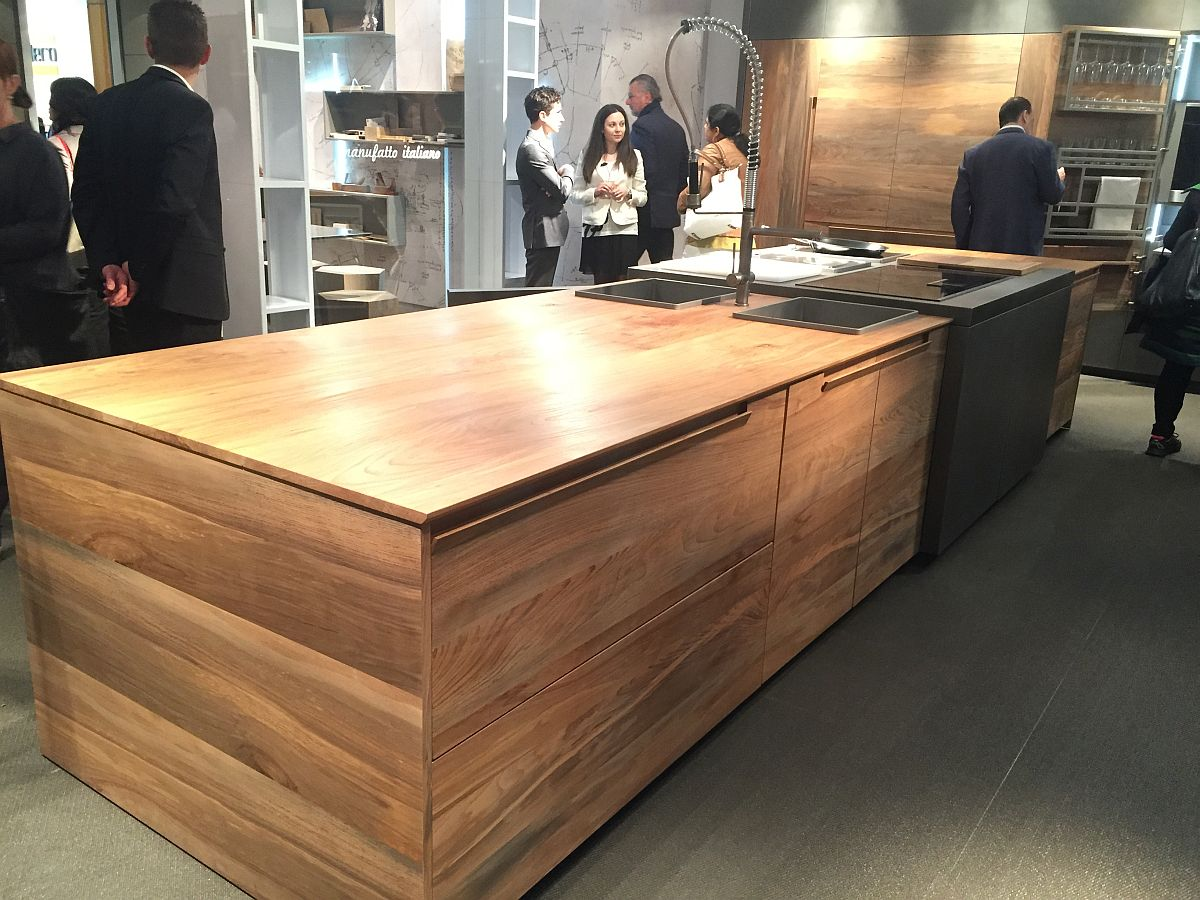 Fossilized wood turned into a smart kitchen island by Toncelli
