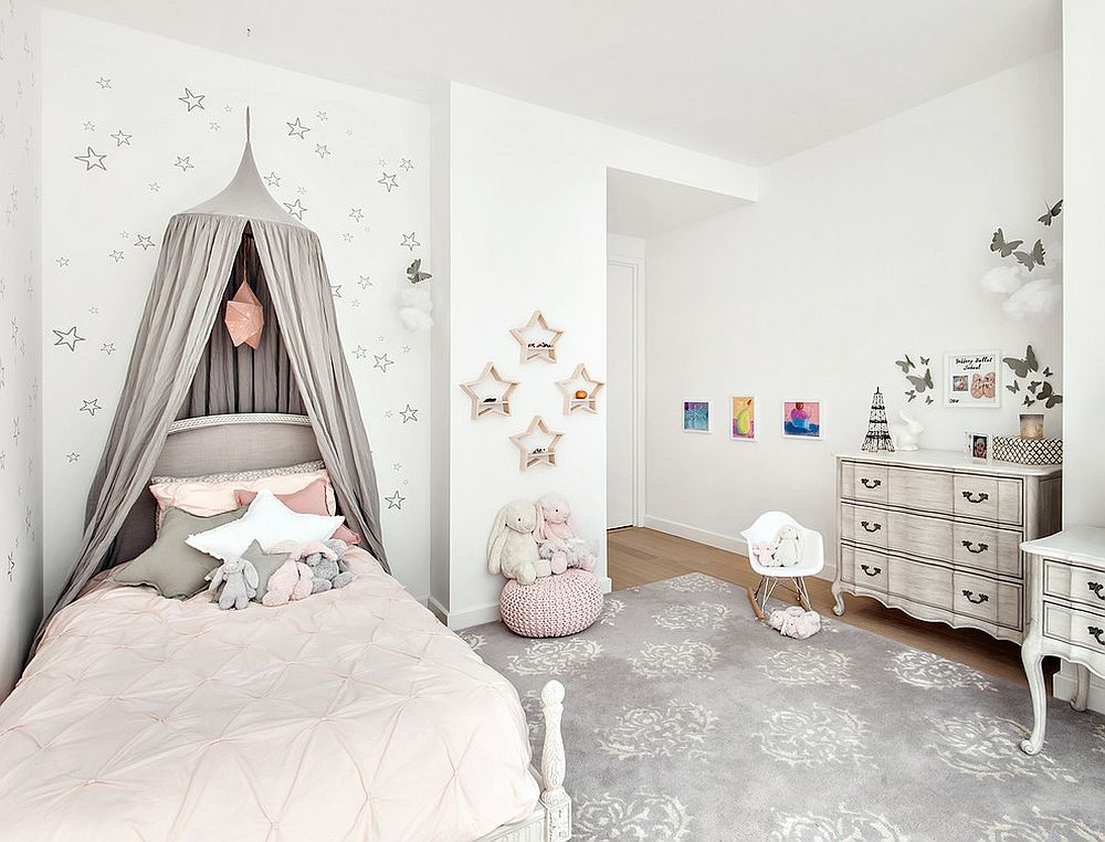 Girls' bedroom in light pink, gray and white