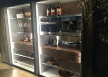 Glass door storage units with built-in kitchen appliances
