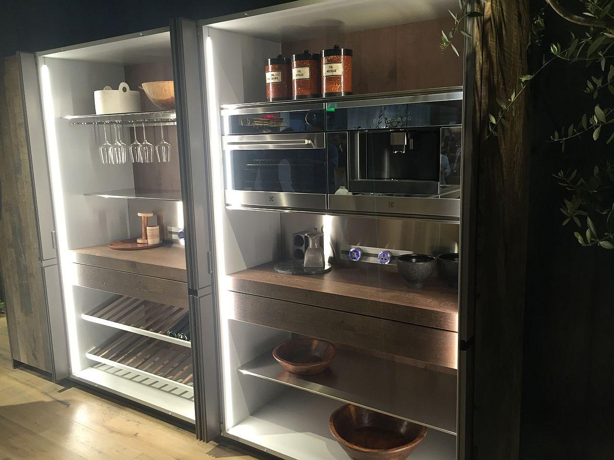 glass door storage units with built in kitchen appliances. Black Bedroom Furniture Sets. Home Design Ideas