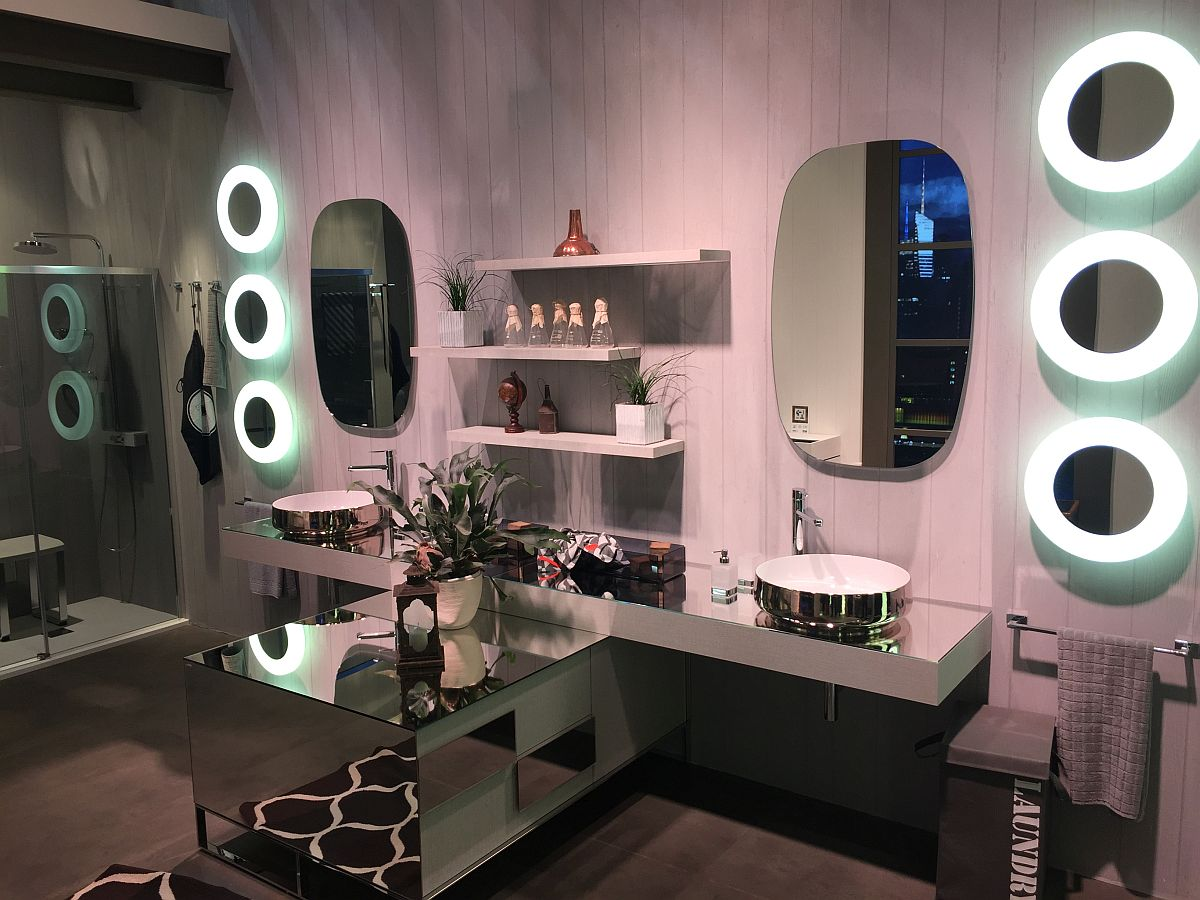 Glittering mirrored bathroom decor and vanity designs from Inda