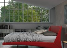 Gorgeous Dylan bed in red seems to float effortlessly