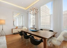 Gorgeous dining room of NYC apartment with wonderful views