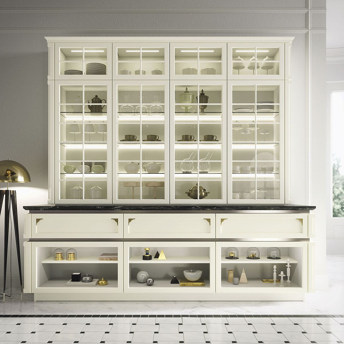Gorgeous glass cabinet and backlit shelving become an integral part of the fabulous kitchen