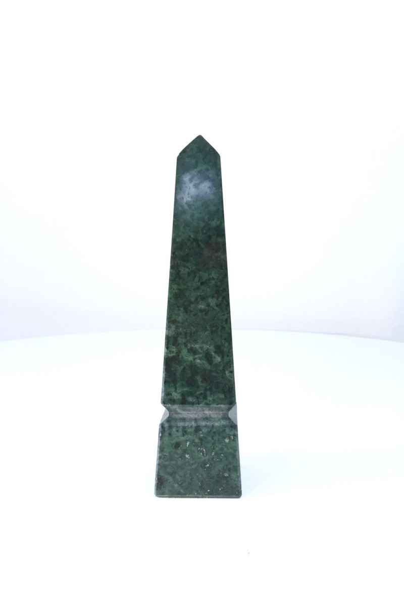 Green marble obelisk from Etsy shop Scoops Vintage Modern