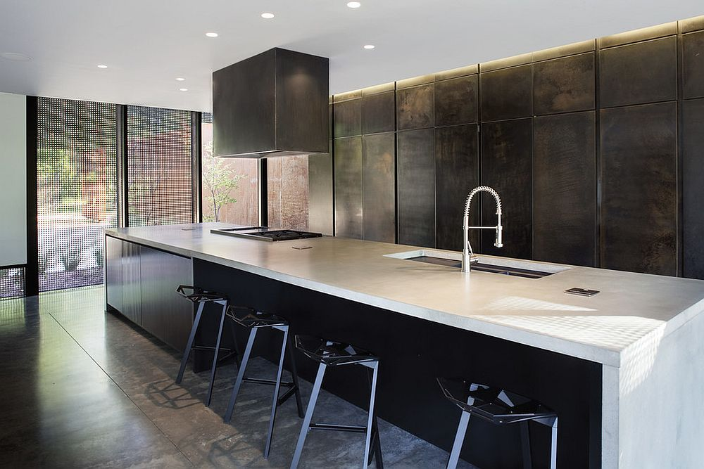 Gunmetal kitchen cabinets make for a unique choice in the contemporary kitchen [Design: Hufft Projects]