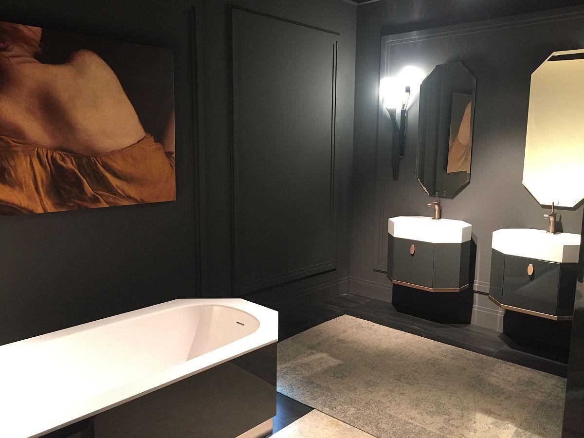 Hexagonal bathroom vanities and bathtub