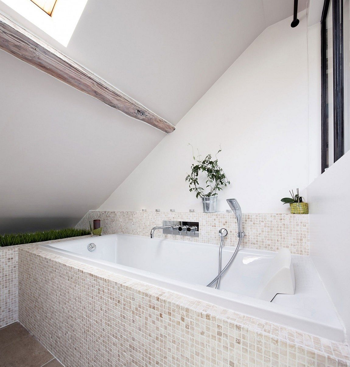 Hint of greenery inside the small bathroom
