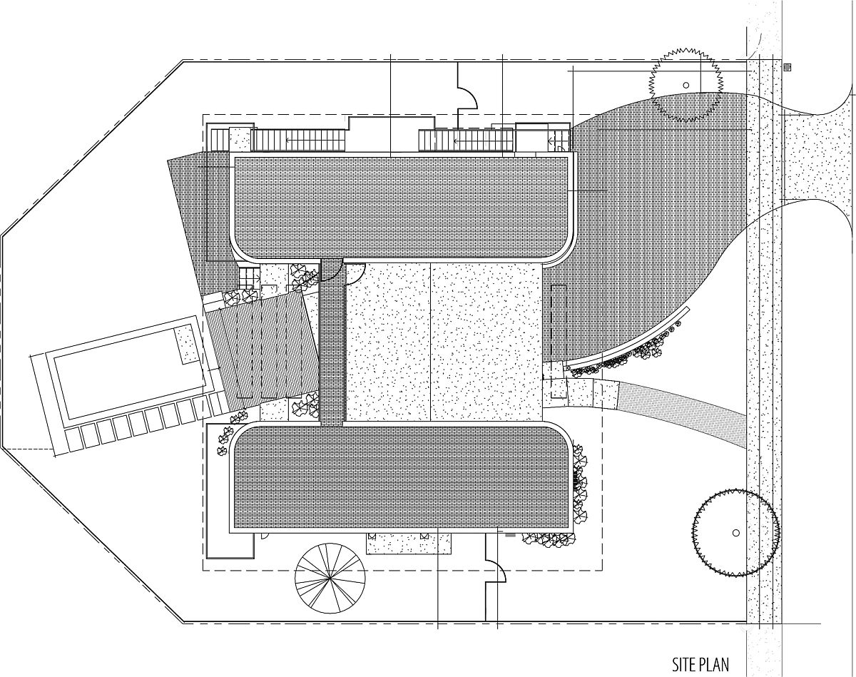 House plan of contemporary residence in Miami Beach