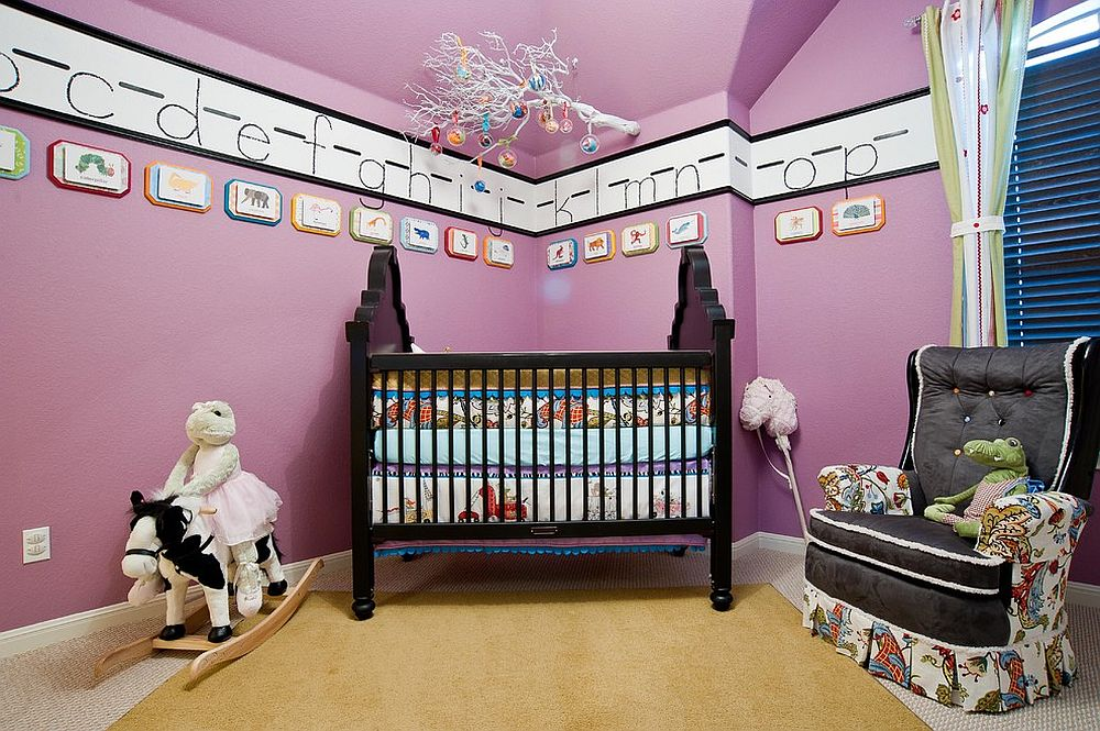 Hues between violet and purple in the color spectrum create more vibrant backdrops in the nursery! [Design: True Interiors]