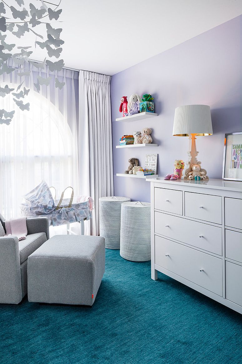 Iconic Bourgie Table Lamp inside the exquisite nursery in blue and purple [Design: Rad Design Inc]