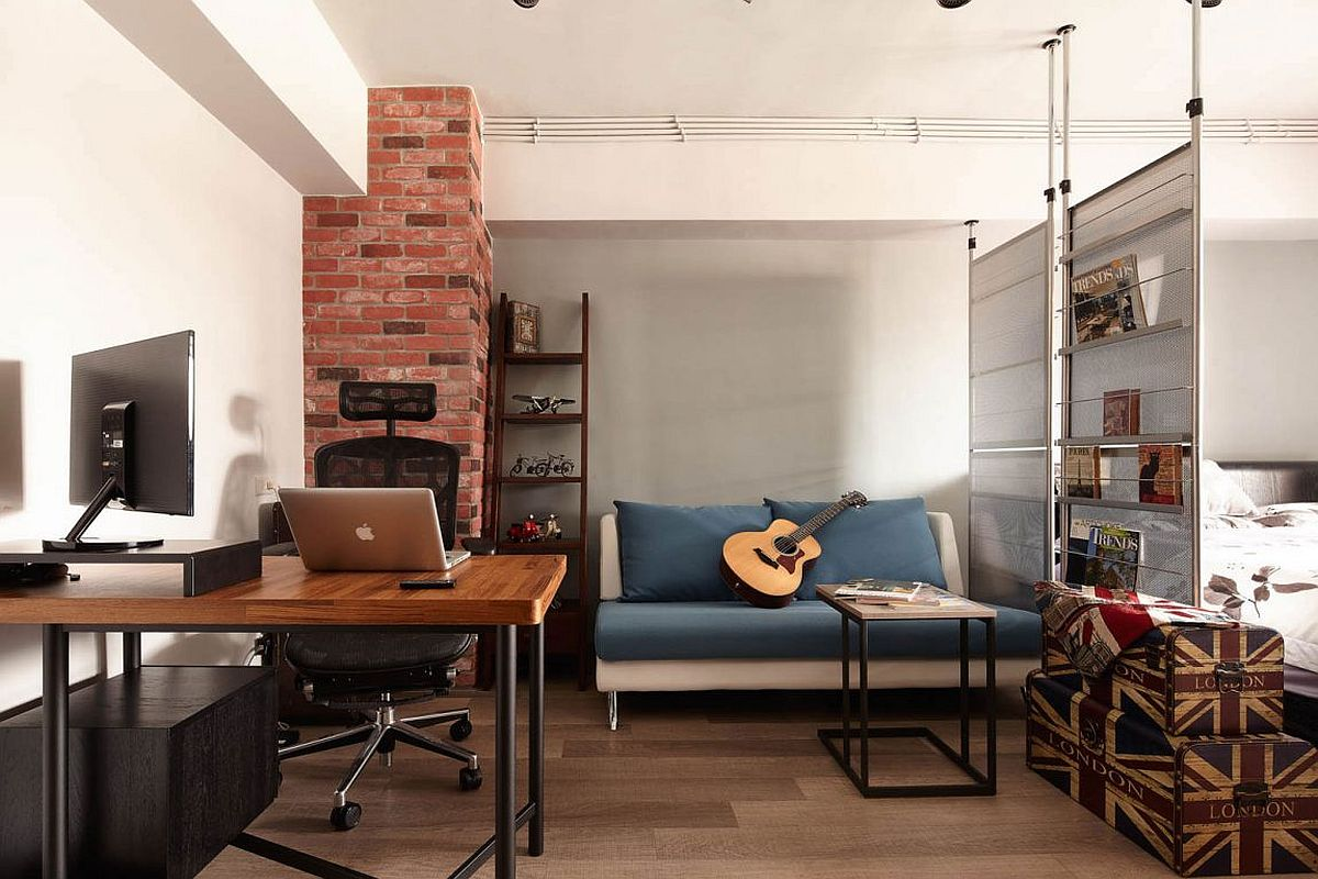 tiny industrial loft style apartment in taipei city. Black Bedroom Furniture Sets. Home Design Ideas