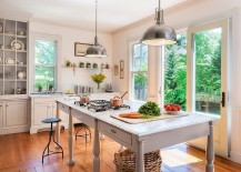 Industrial style lighting for farmhouse kitchen in white