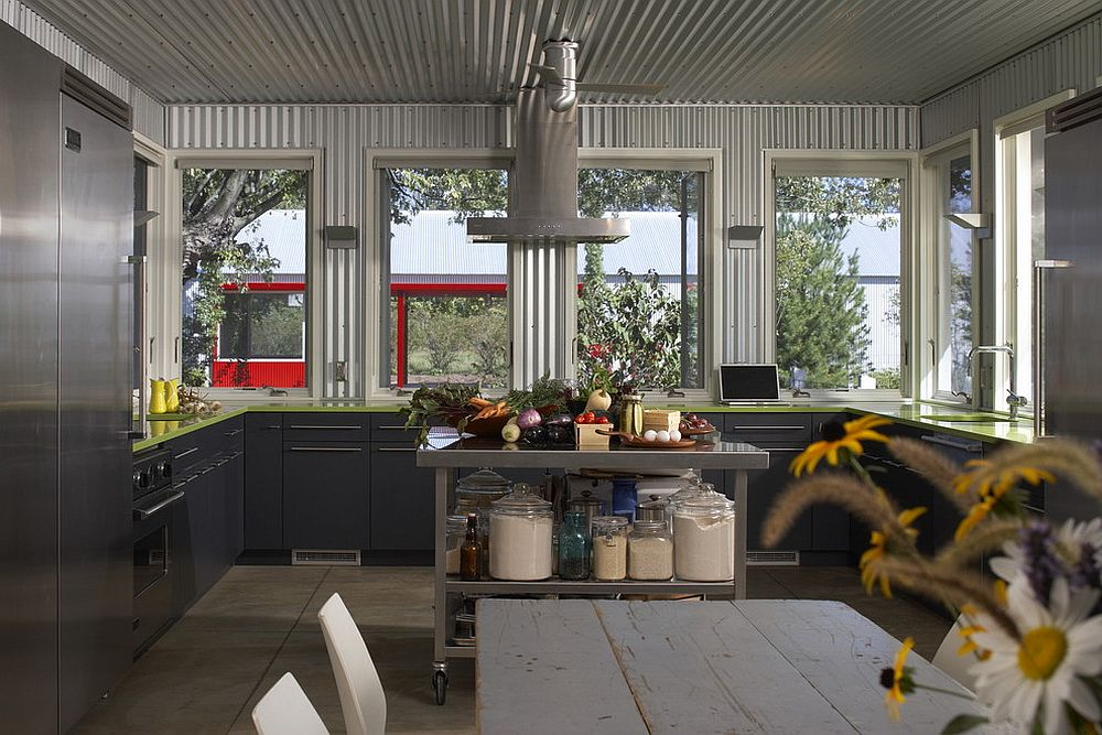 Industrial take on adding metallic glint to your kitchen! [Design: Wheeler Kearns Architects]