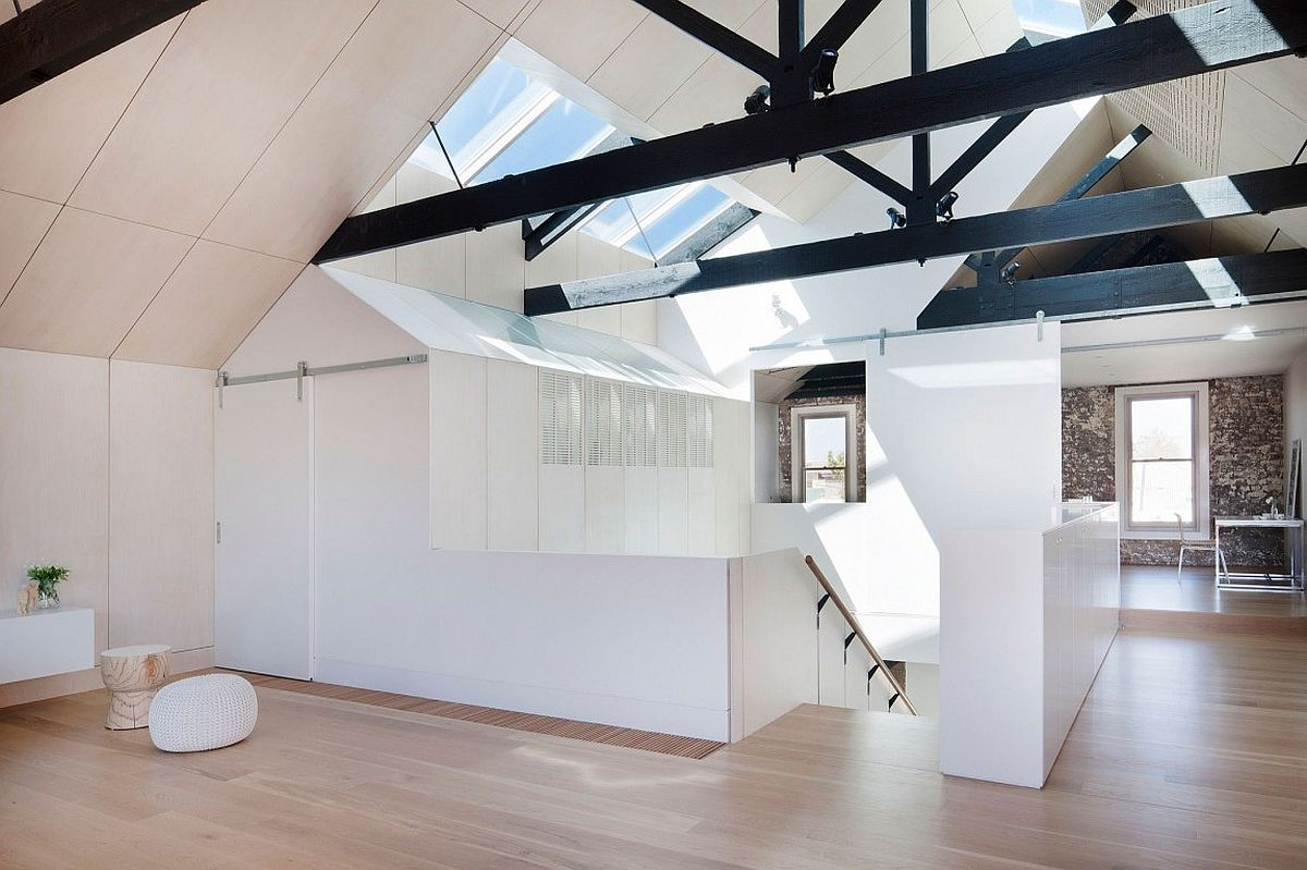 Interesting use of the gabled roof adds to the visual of the interior