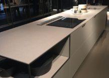 Kitchen island with corner open shelving - EuroCucina 2016