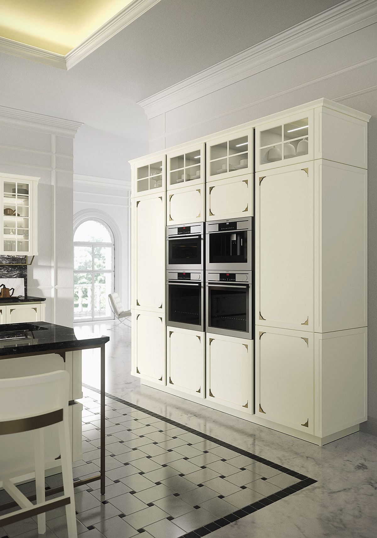 Kelly chic modern kitchen wrapped in intricate timeless for Ample storage