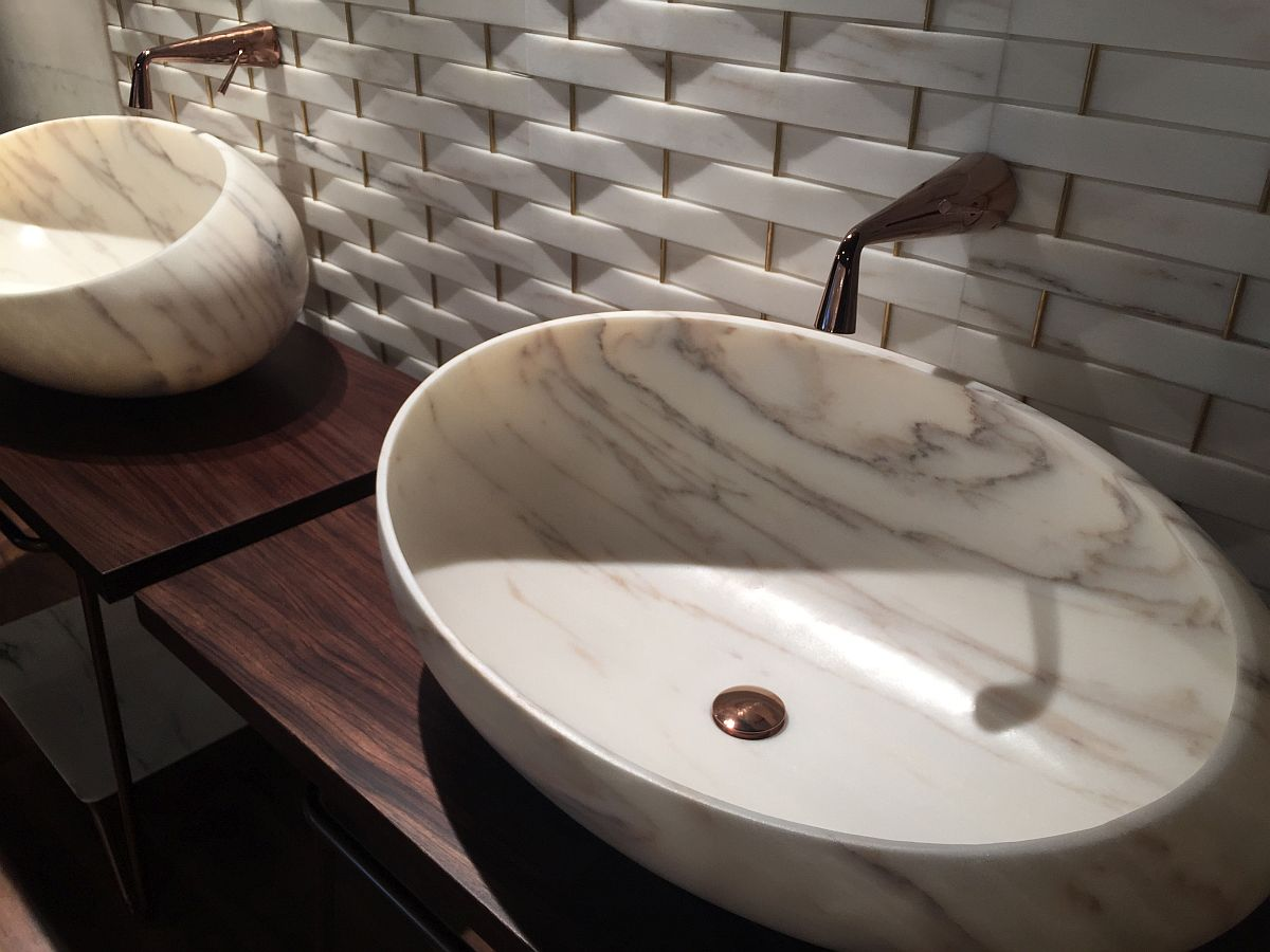 Kreoo marble sink adds an air of opulence to the bathroom