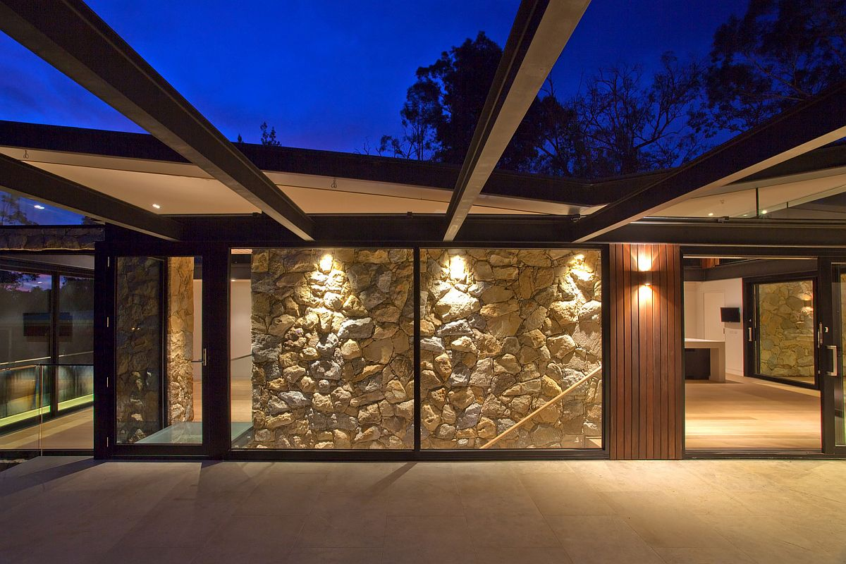Lighting adds warmth to the unique Warrandyte Residence