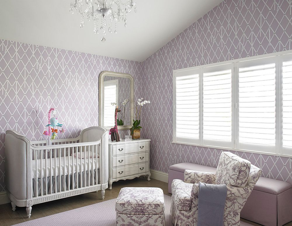 Lilac purple shapes a relaxing and cute girl's nursery [Design: Fein Zalkin Interiors / Troy Campbell photography]
