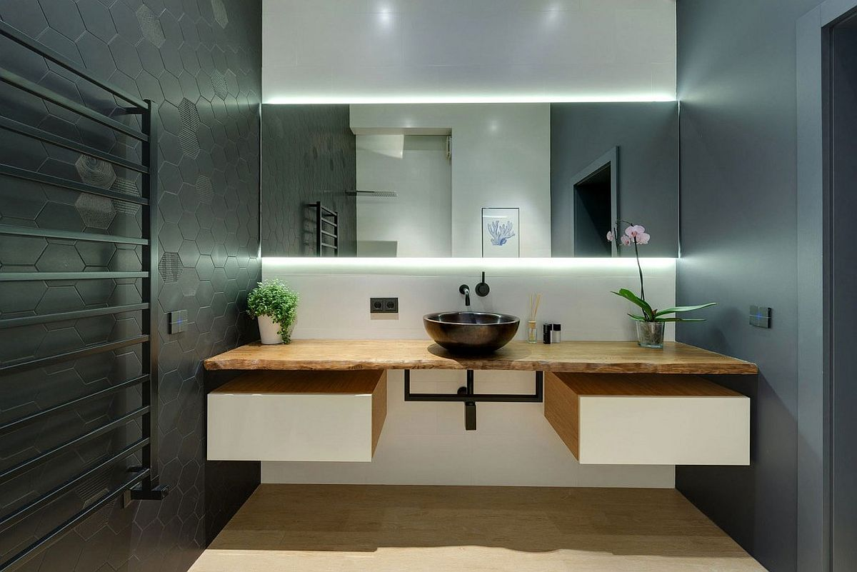 Live edge bathroom vanity design is a popular trend