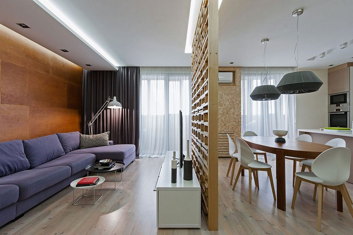A lesson in delineating space without walls modern for Modern apartment living