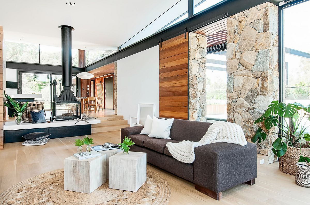 Living room of the Aussie home overlooking Yarra River in Victoria