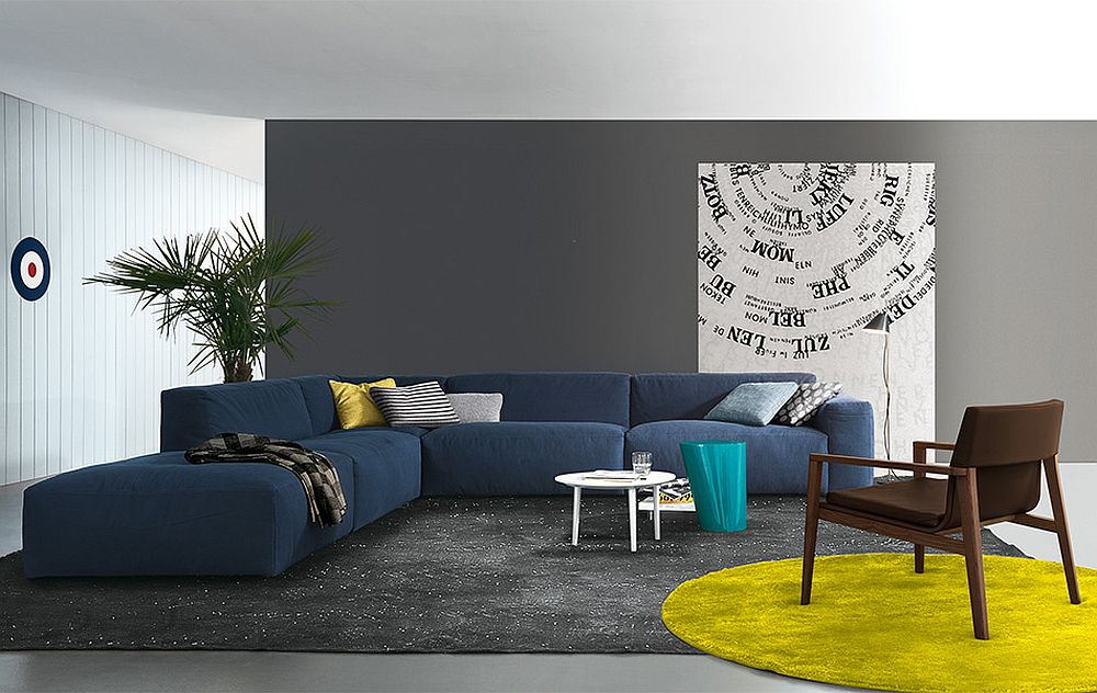 Lovely blue Daniel sectional sofa from Jesse Chic Modular and Sectional Sofas: Up your Living Room's Style Quotient