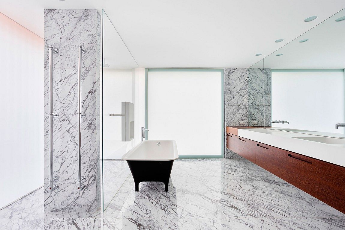 Luxurious contemporary bathroom with transluscent glass panes