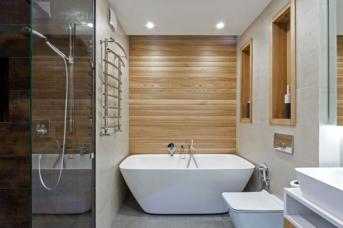 Make most of the corner space in the bathroom with smart shower and bathtub designs