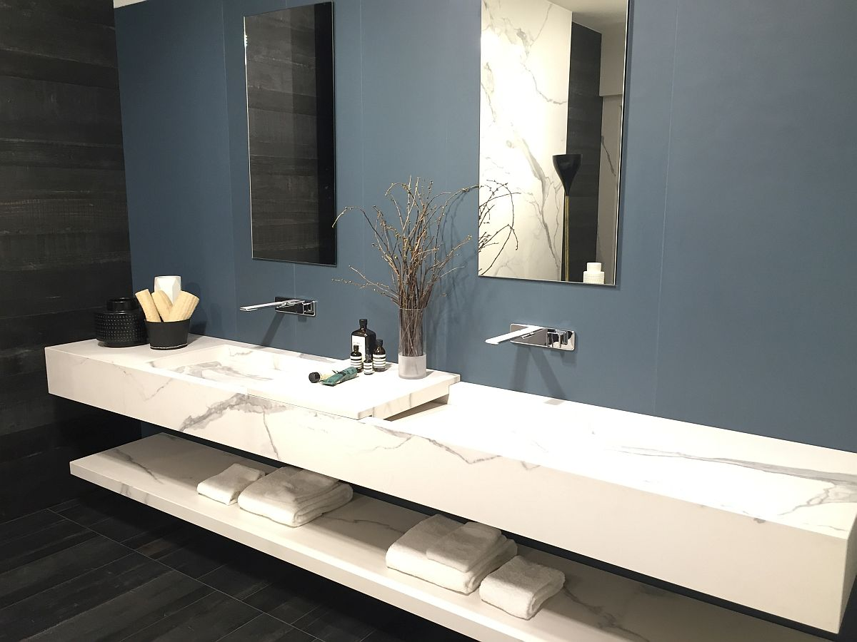 Marble adds luxury to the bathroom vanity