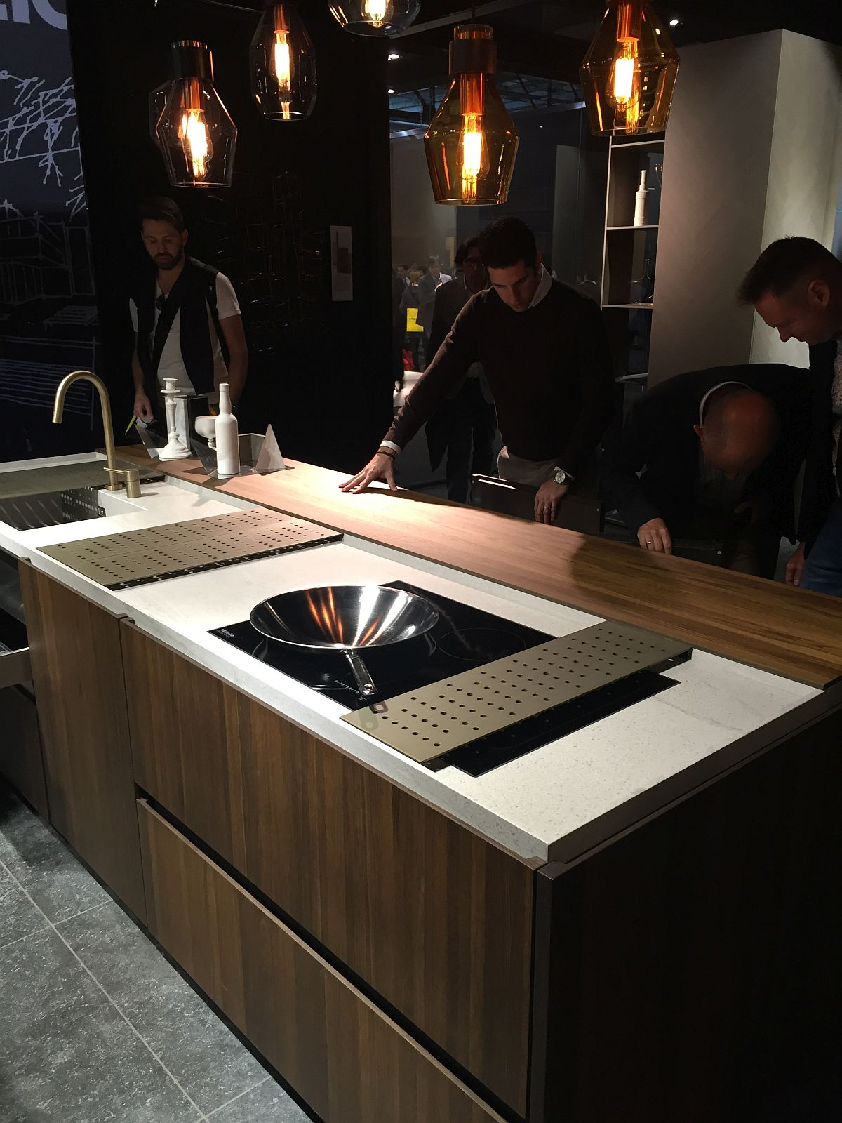 Marble and wooden worktops shine through with Binova kitchen island
