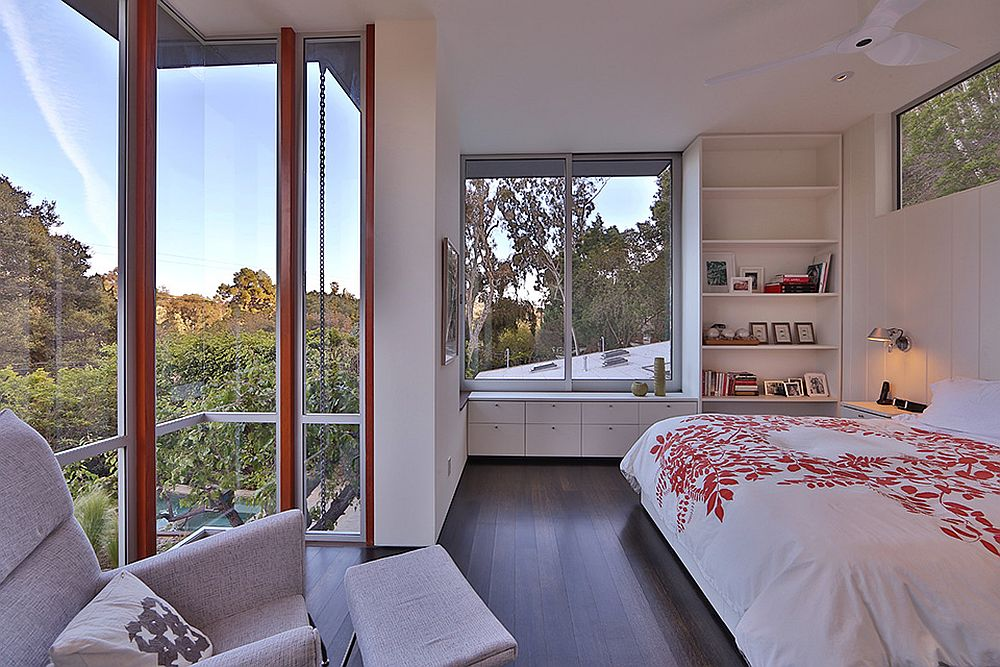 Master bedroom of the renovated California home