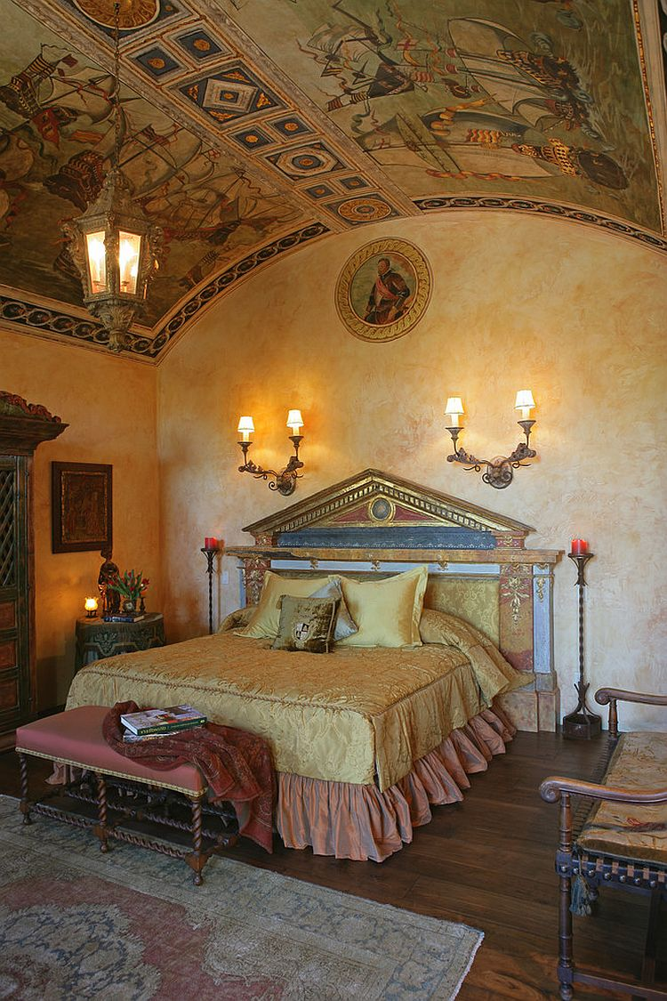 Mediterranean bedroom ceiling tells a fascinating story! [Design: Merlin Contracting & Developing]