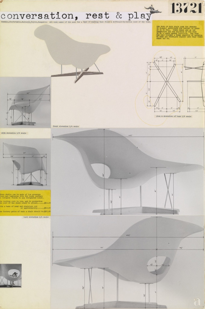 Entry Panel for MoMA International Competition for Low-Cost Furniture Design (La Chaise). Image © 2016 Eames Office, LLC.