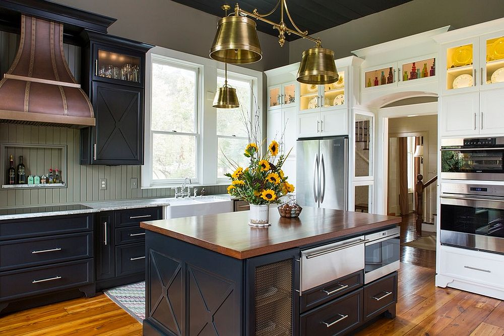 Modern farmhouse kitchen with smart lighting fixtures [Design: The Aldrich Group]
