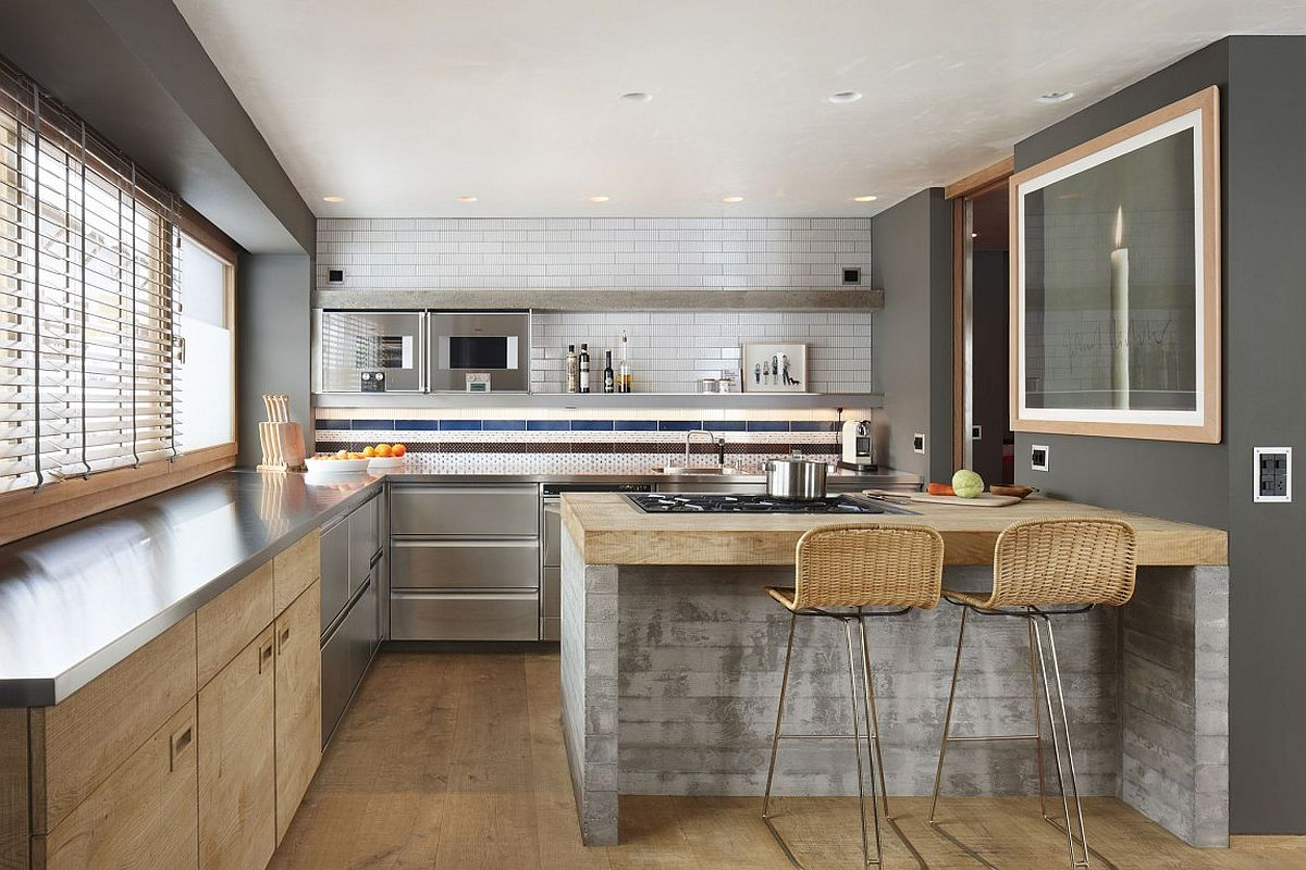 Modern kitchen in gray with wooden finishes and a hint of exposed concrete