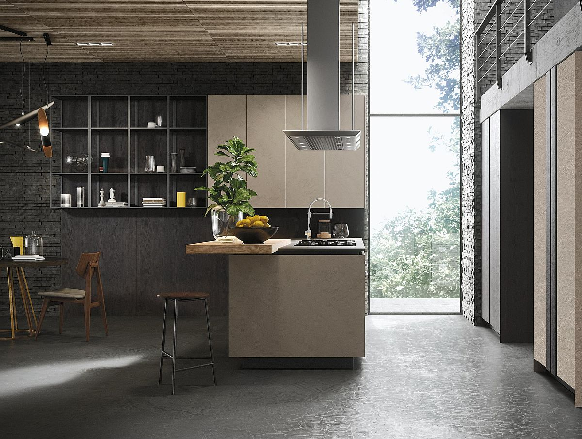 Modular shelving units and cabinets create a fashionable and versatile minimal kitchen