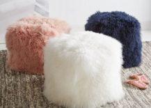 Mongolian lamb poufs from West Elm
