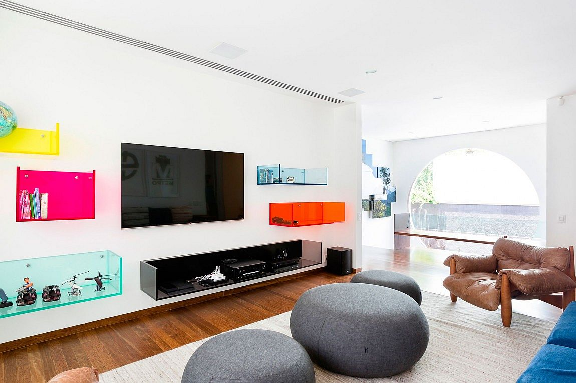 Multi-colored glass shelves for the living room