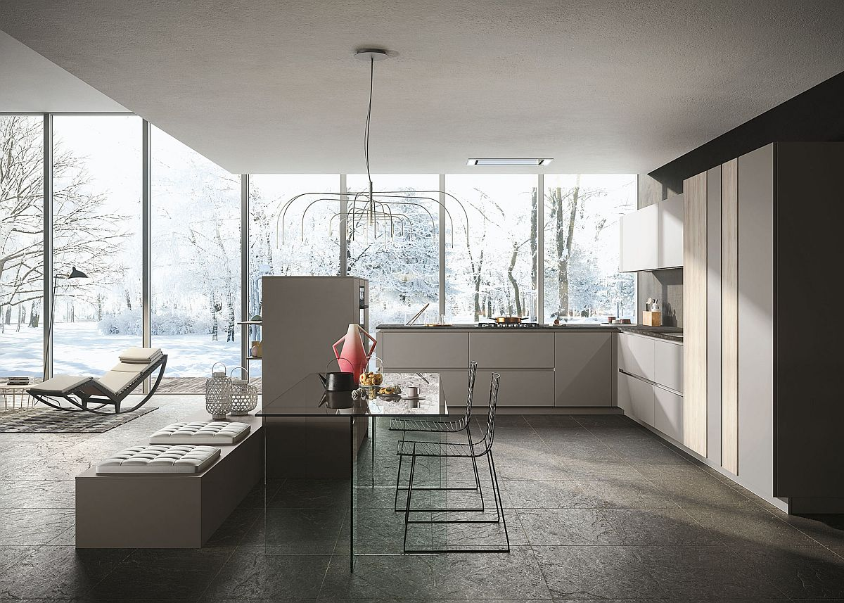 Look minimalism enclosed in fluid design and unparalleled for Snaidero kitchen