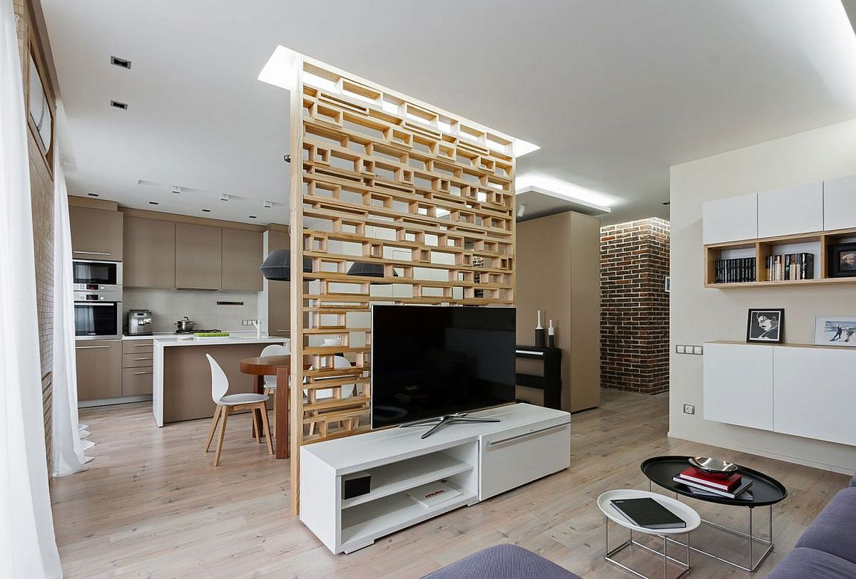 Neutral colors and varied textures shape the living space of apartment in in Zaporizhia
