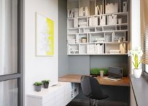 Nifty home office and workzone with wall-mounted open shelving