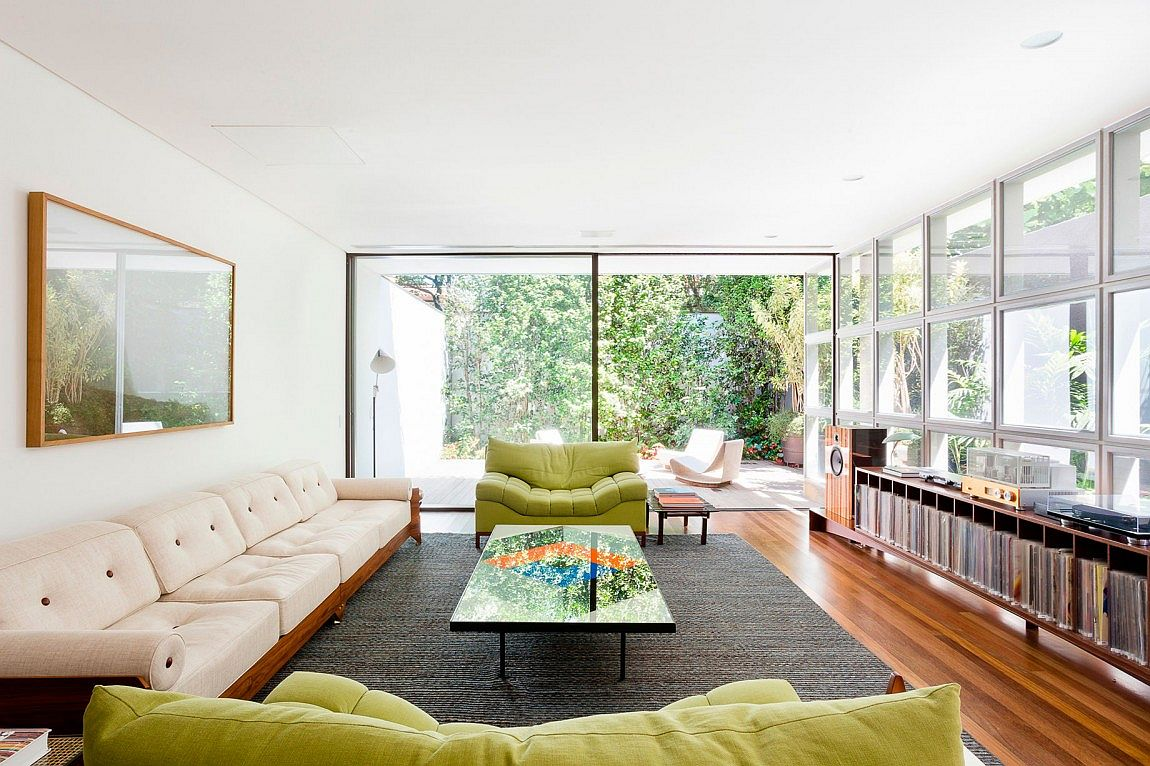 Open and inviting sitting room of AA House