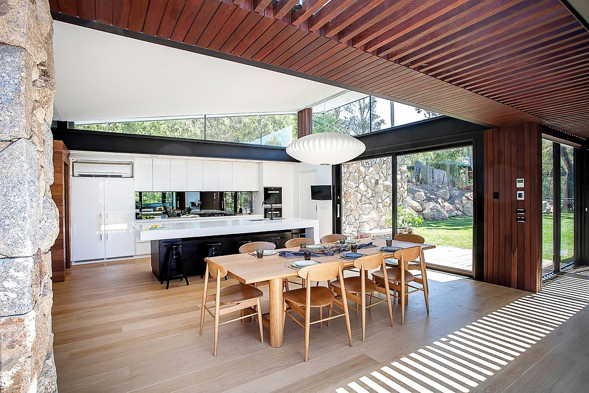 Open design of the lakeside home brings in plenty of natural light