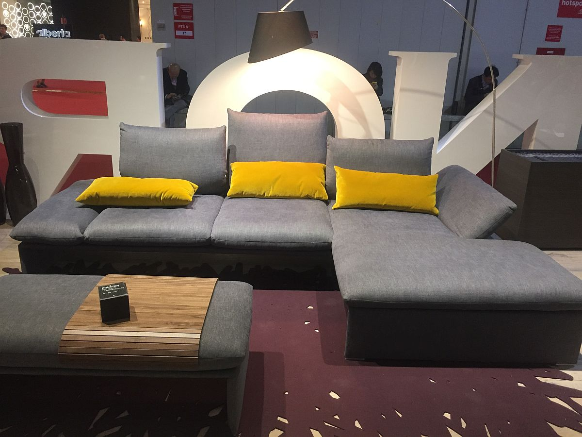 Opulent Couch In Gray With Yellow Accent Pillows Living