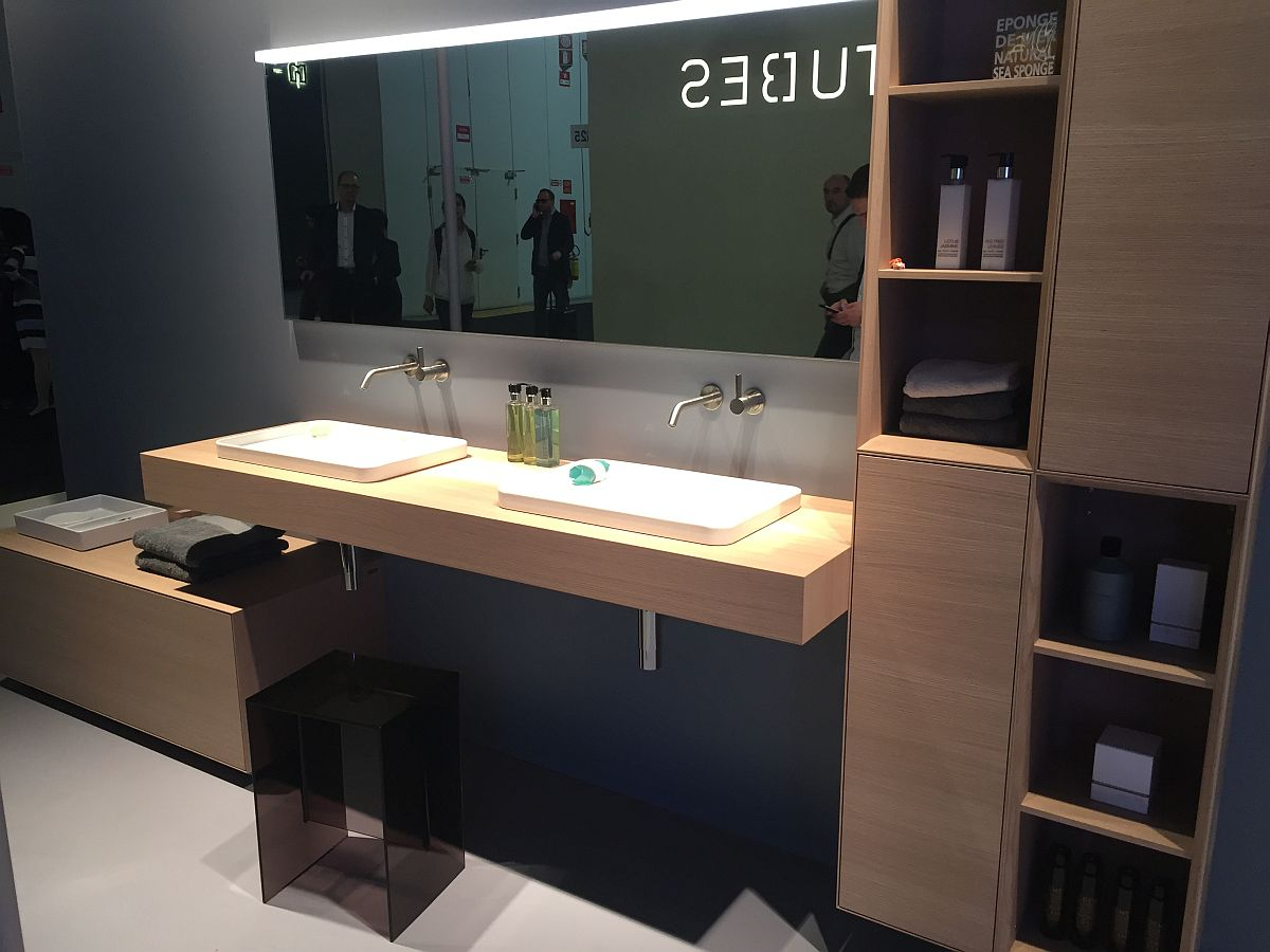 Organized shelves and sleek vanity in wood for the modern bathroom