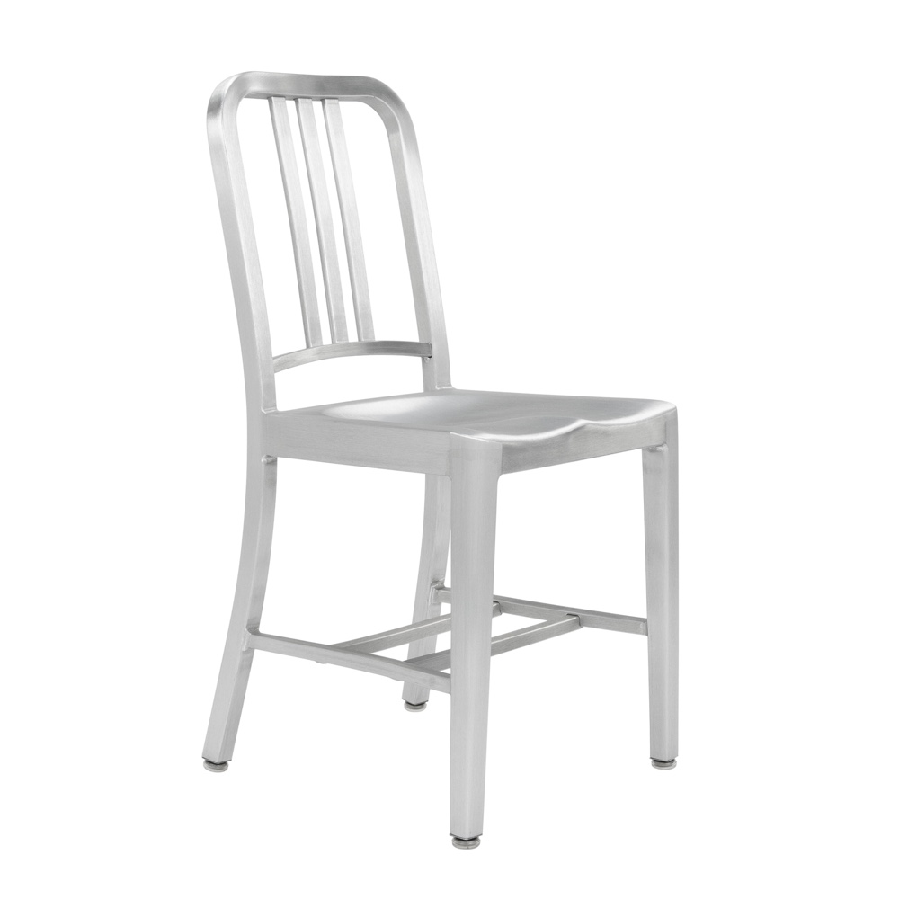 Original Emeco Navy Chair in brushed aluminium finish. Image © Emeco.